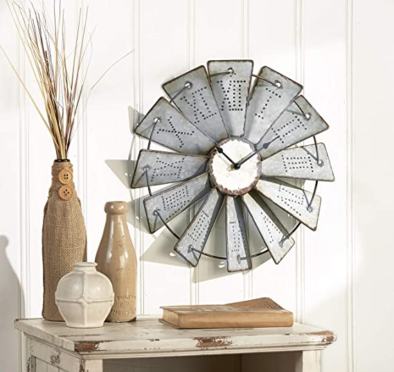 The Lakeside Collection Metal Windmill Wall Clock With Distressed Finish And Roman Numerals Home Kitchen Amazon Com