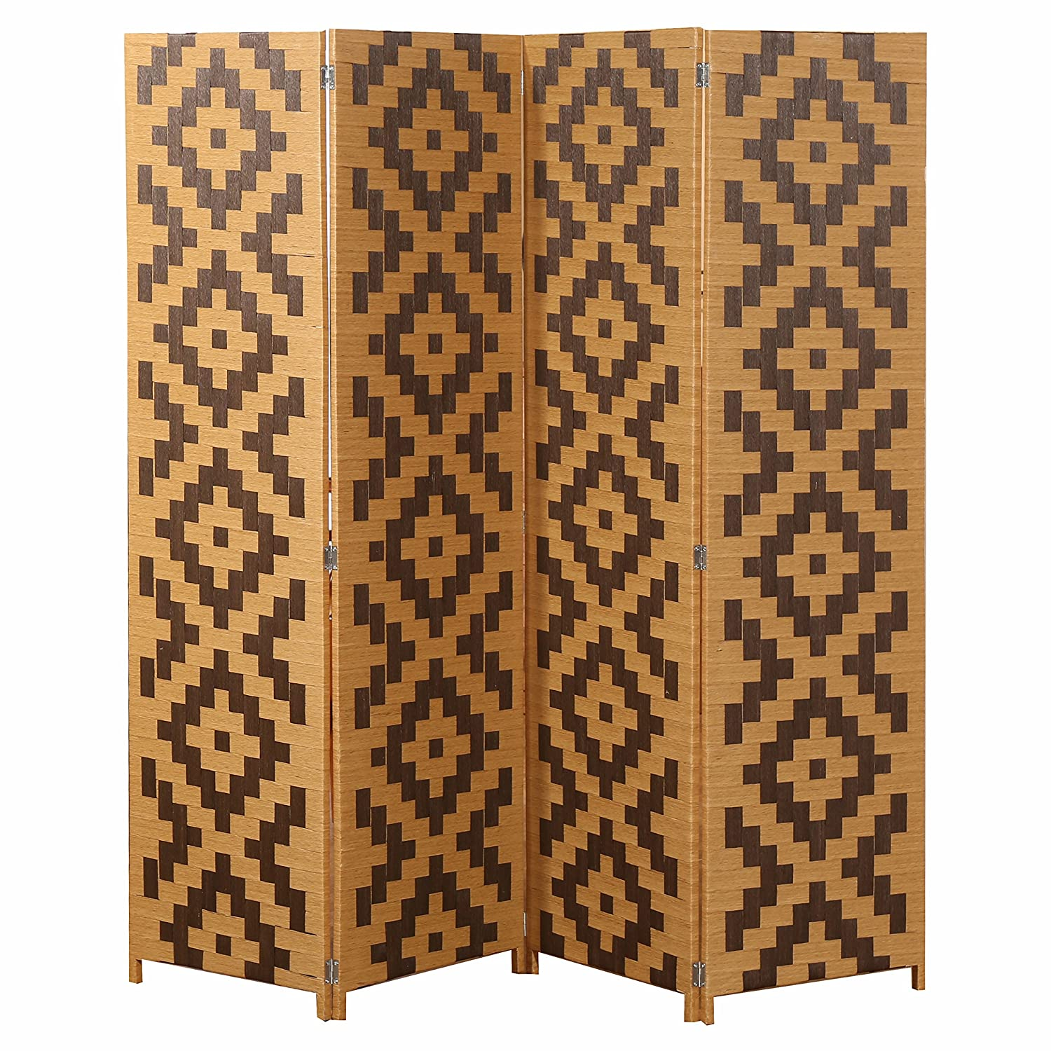 MyGift Woven Rattan 4 Panel Screen, Southwest Folding Room Divider, Beige - Room Dividers Amazon.com