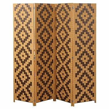 Mygift Woven Rattan 4 Panel Screen Southwest Folding Room Divider Beige