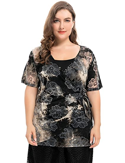 1183d0e0b7bd9 Chicwe Women s Plus Size Tie Dyed Floral Printed Jersey Wrap Top with  Adjustable Camisole 1X