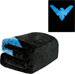 """JPI Plush Throw Blanket - Batman Nightwing - Queen Bed 79""""x 95"""" - Faux Fur Blanket for Home Decor, Bedding Sets, Sofa Bed, Couch, Picnic Blanket, Camping Blanket"""