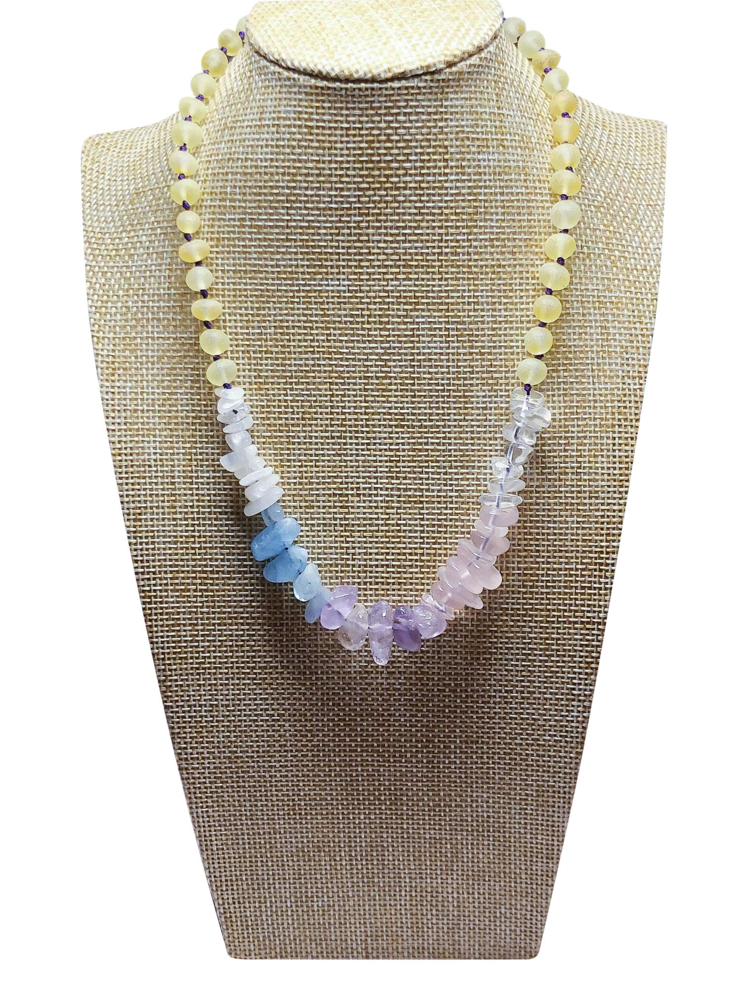 Gemstone + Baltic Amber Necklace for Kids - 16 inches - Heal Naturally (Pastel Gemstones) by Umai