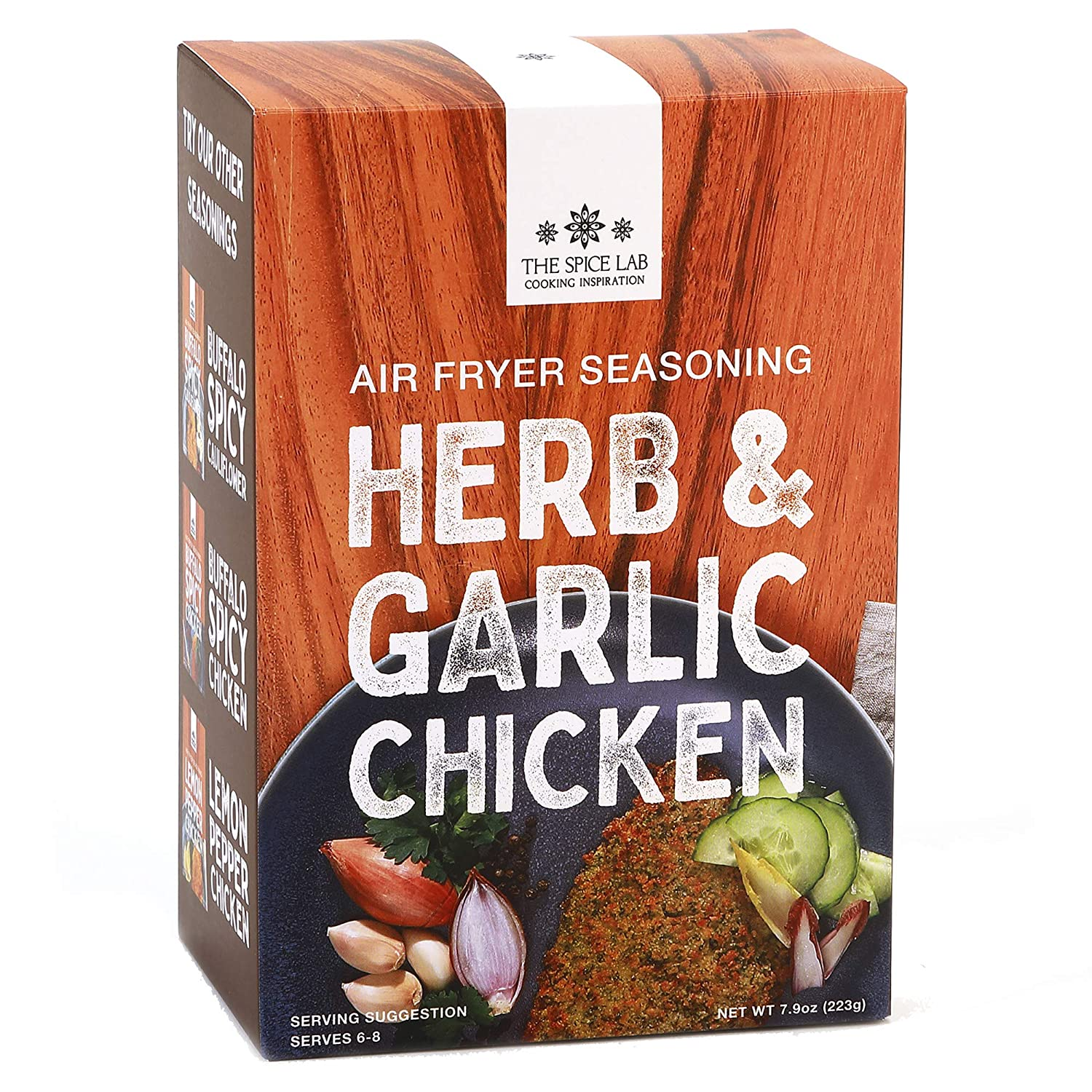 The Spice Lab - Herb & Garlic Air Fryer Panko Seasoning Kit - 7.9oz. - Flavored Panko Breadcrumbs and Rice flour for Chicken, Pork Chops, and Vegetables - serves 8