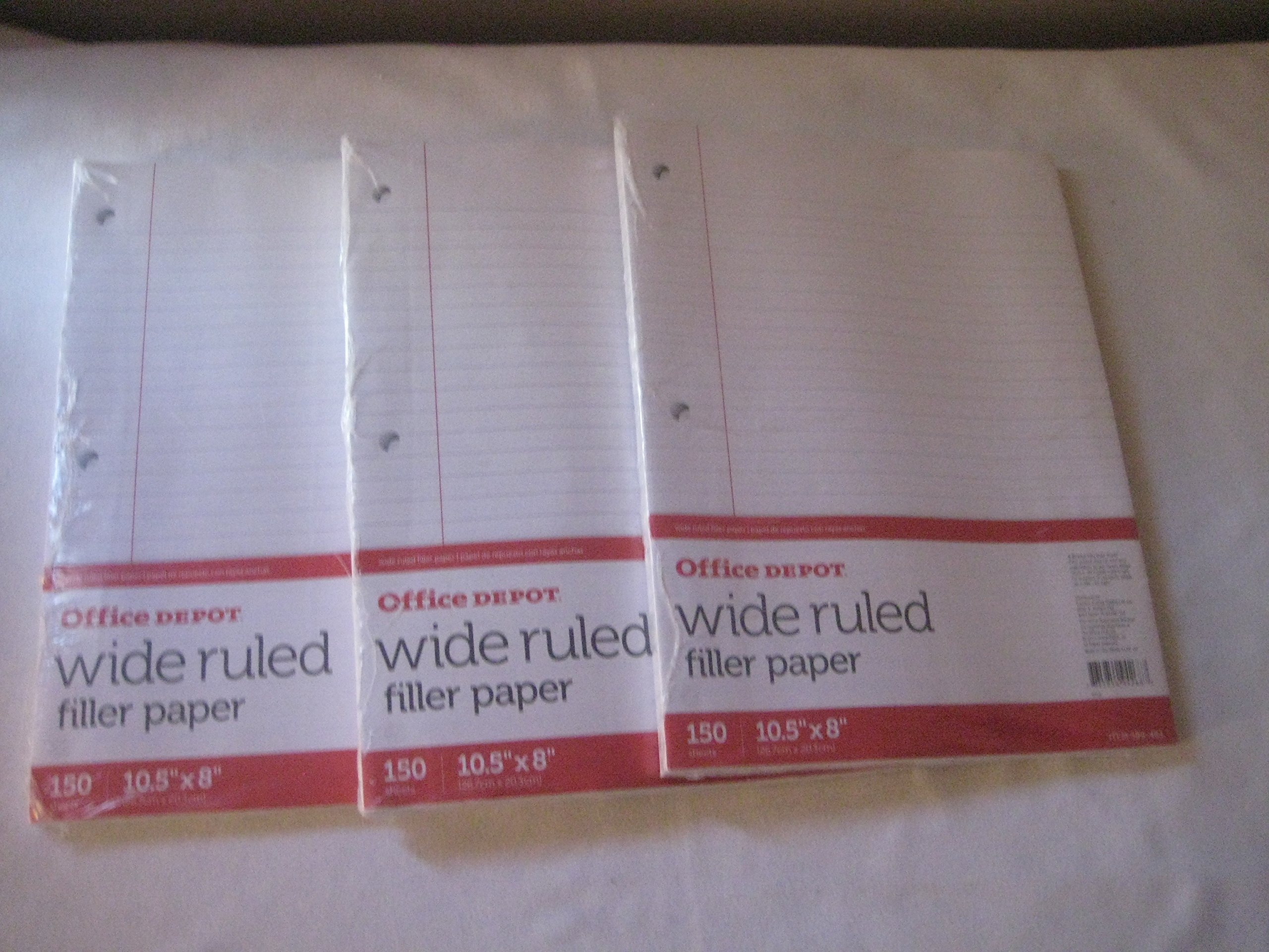 Office Depot(R) Brand Notebook Filler Paper, Wide-Ruled, 8In. X 10 1/2In., 3-Hole Punched, White, Pack Of 150 (3 pack)