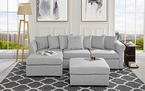 Admirable Upholstered Sectional Sofa With Ottoman L Shape Couch With Chaise 96 W Inches Light Grey Caraccident5 Cool Chair Designs And Ideas Caraccident5Info