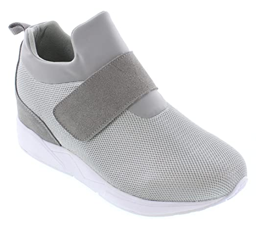 H7199-3 inches Taller - height Increasing Elevator Shoes - Grey Slip-On Fashion Sneakers