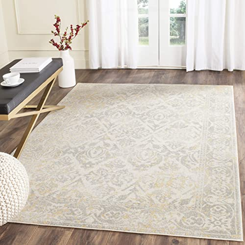 Safavieh Evoke Collection EVK264D Distressed Area Rug, 10 x 14 , Ivory Grey
