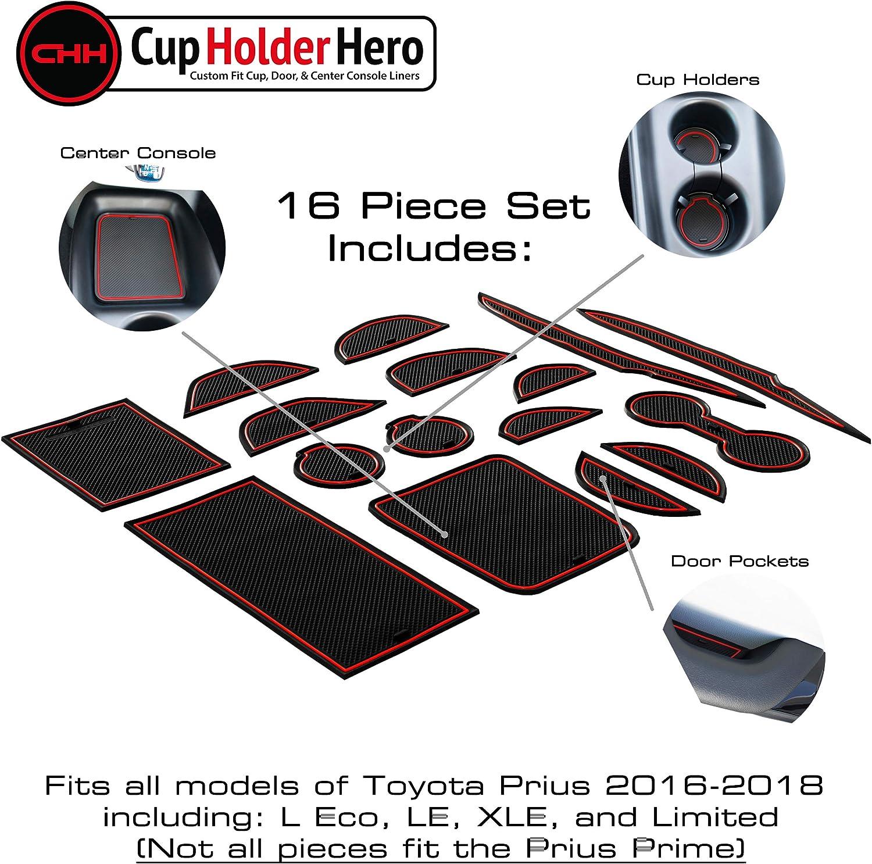 Blue Trim Door Pocket Liners 16-pc Set Center Console Liner Mats CupHolderHero Compatible with Toyota Prius Accessories 2016-2018 Premium Custom Interior Non-Slip Anti Dust Cup Holder Inserts