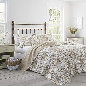 Laura Ashley Bedford Cotton Reversible Quilt, King, Mocha