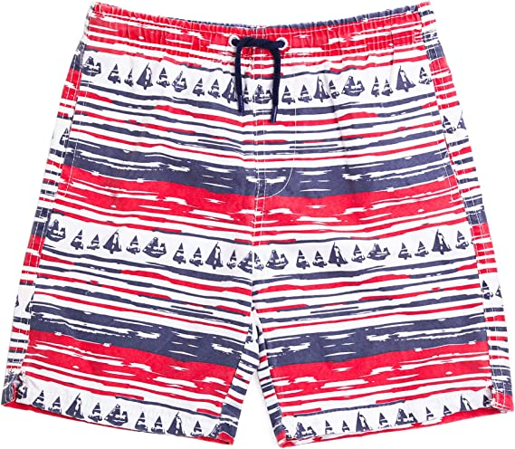 Coralup Kids Beach Shorts Boys Swim Trunks Adjustable Waist Net Lining Quick Dry Breathable Swimwear Boardshort Age 3-14Years
