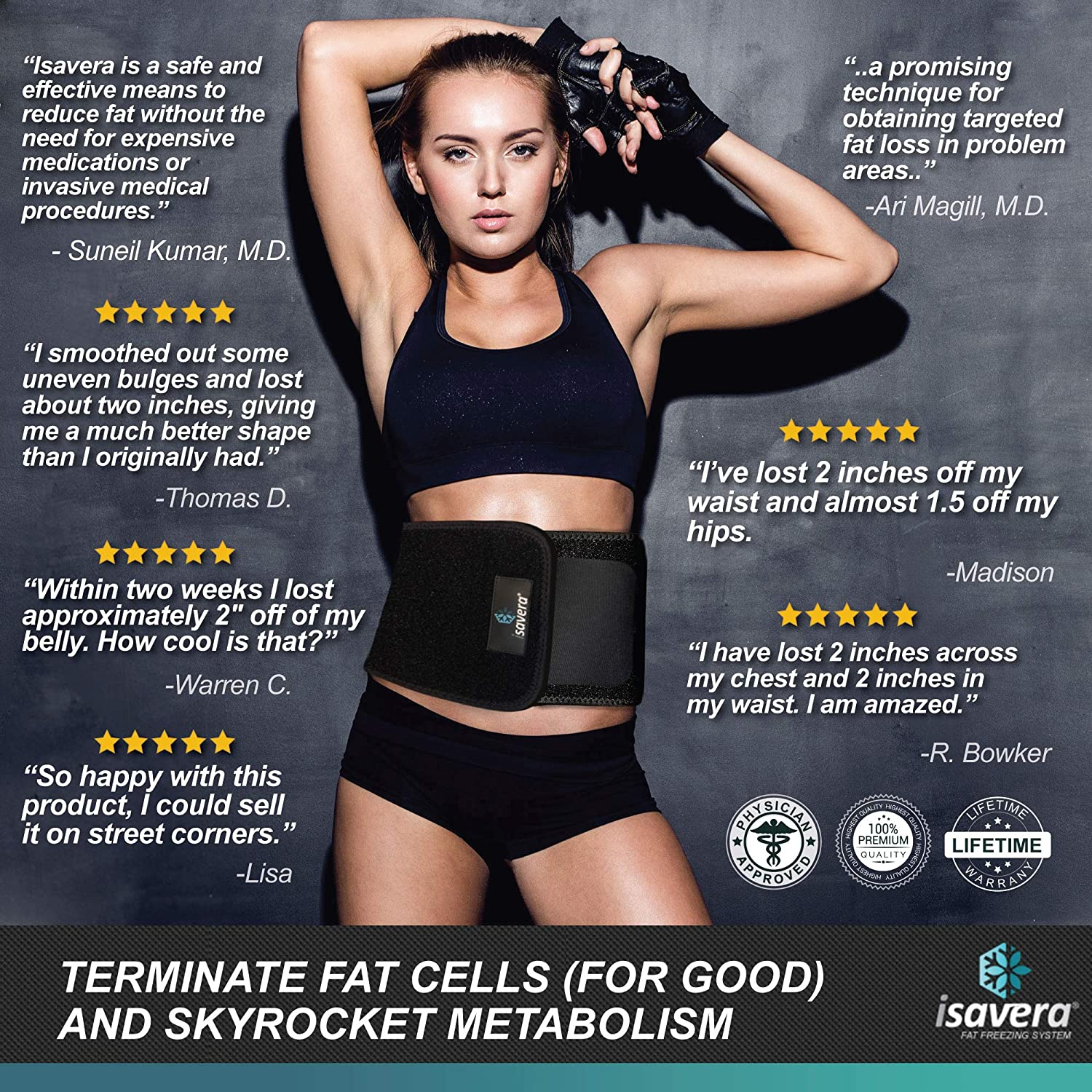 cf600955b94b7 Amazon.com: Isavera Fat Freezing System - Freeze Fat Cells at Home - Easy  Fat Loss with Cold Body Sculpting Wrap Belt - Shrink Tummy and Shape  Stomach with ...
