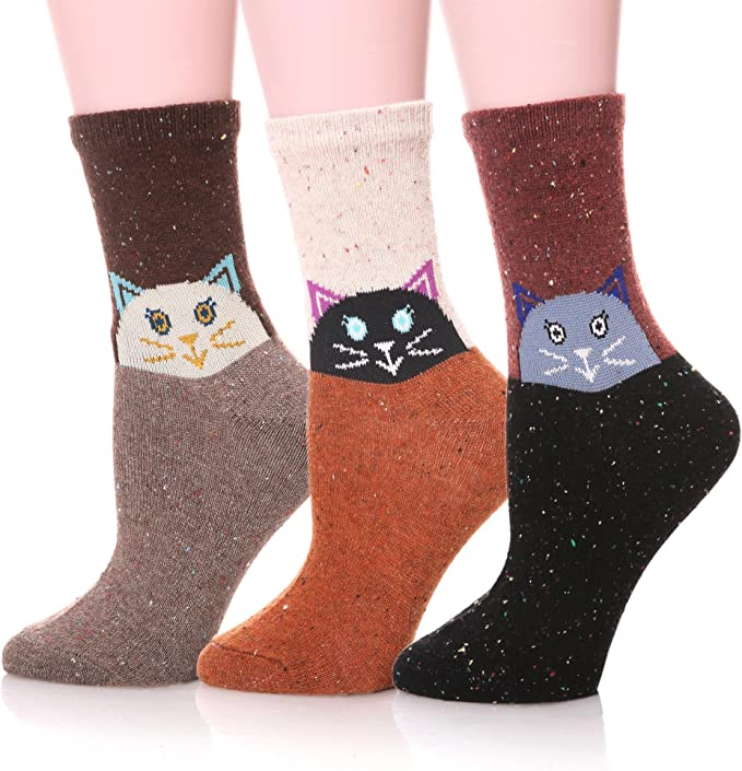 striped socks Cashmere Merino Wool Blend Socks for women and girls DK weight purple pink red hand knit socks gift for women