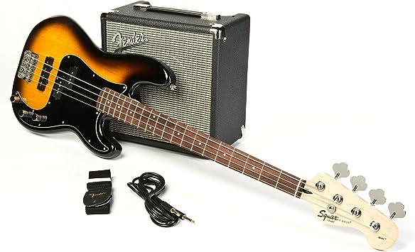Fender Squier Affinity Series PJ Bass Pack Brown Sunburst: Amazon ...