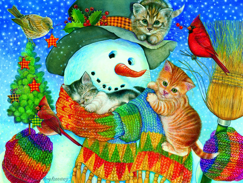 Snowman Cuddles 500 Piece Jigsaw Puzzle by SunsOut SG/_B0753KLY2R/_US