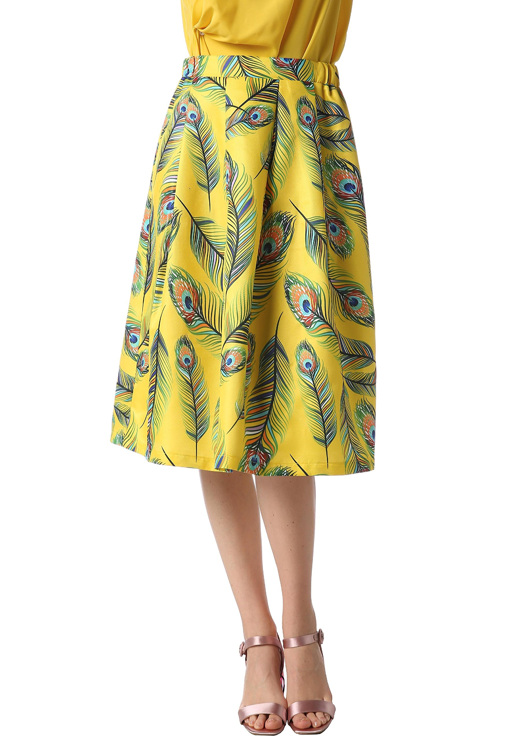 Foshow Womens Midi Skirt Knee Length Floral Pleated Flared Vintage Summer High Waist Boho Skirts