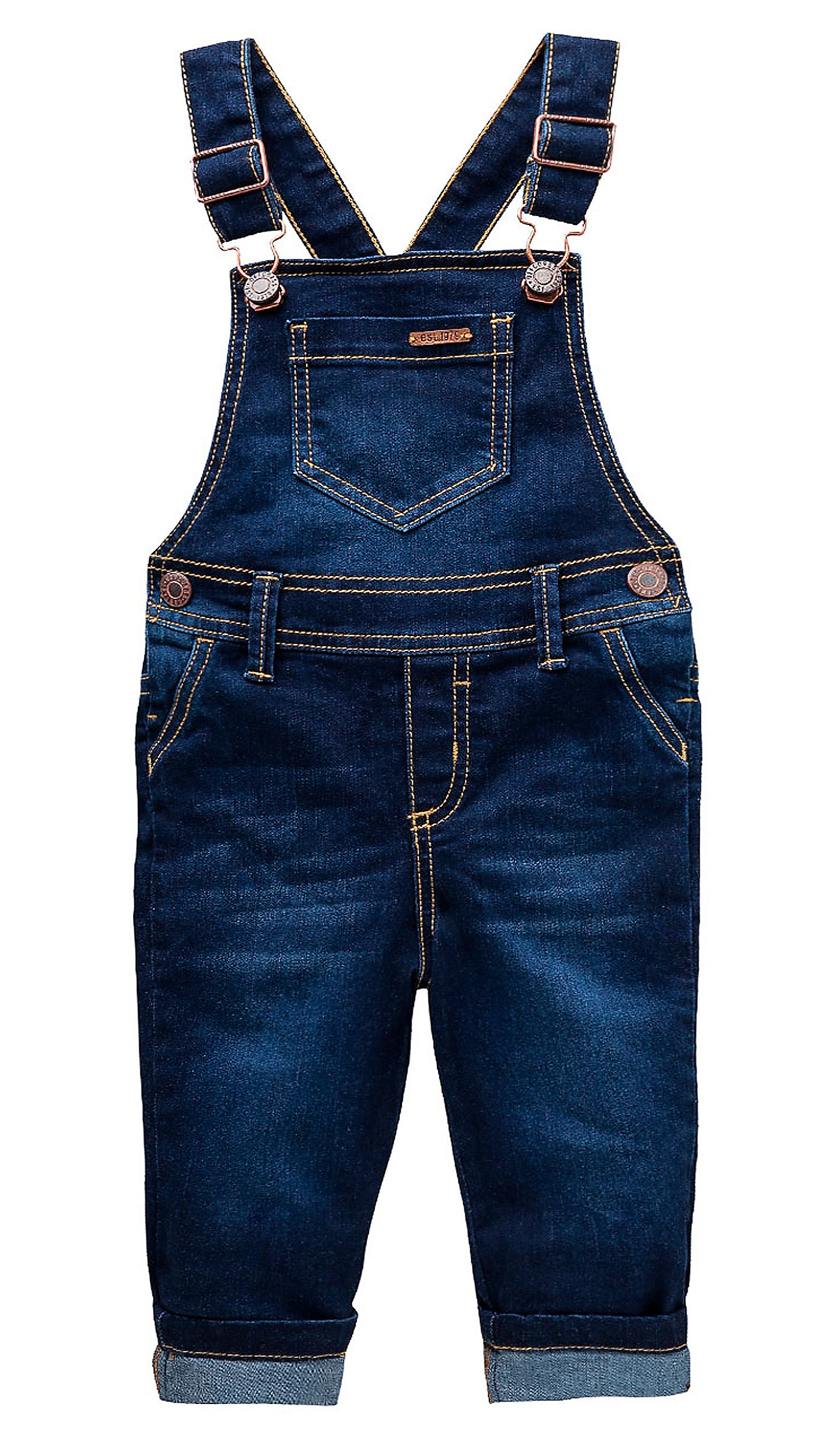 OFFCORSS Toddler Boys Kids Infant Bib Matching Brother Twin Jean Denim Cotton Cute Long Overalls Dungarees with Hooks Overol Para Niños Dark Blue 2T