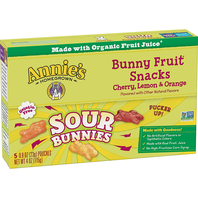 Annie's Sour Bunny Fruit Snacks, 5 ct, 4 oz