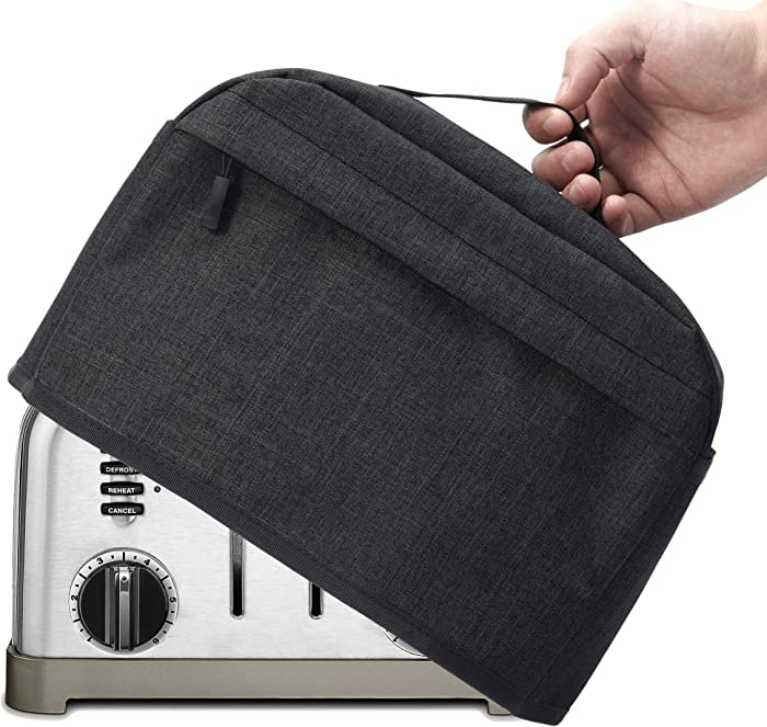 VOSDANS 4 Slice Toaster Cover with Zipper & Open Pockets Kitchen Small Appliance Cover with Handle, Dust and Fingerprint Protection, Machine Washable, Black (Patent Design)