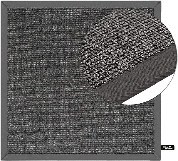 benuta Alfombra de sisal con Cenefa 150/x 150/x 2/cm Yute Gris
