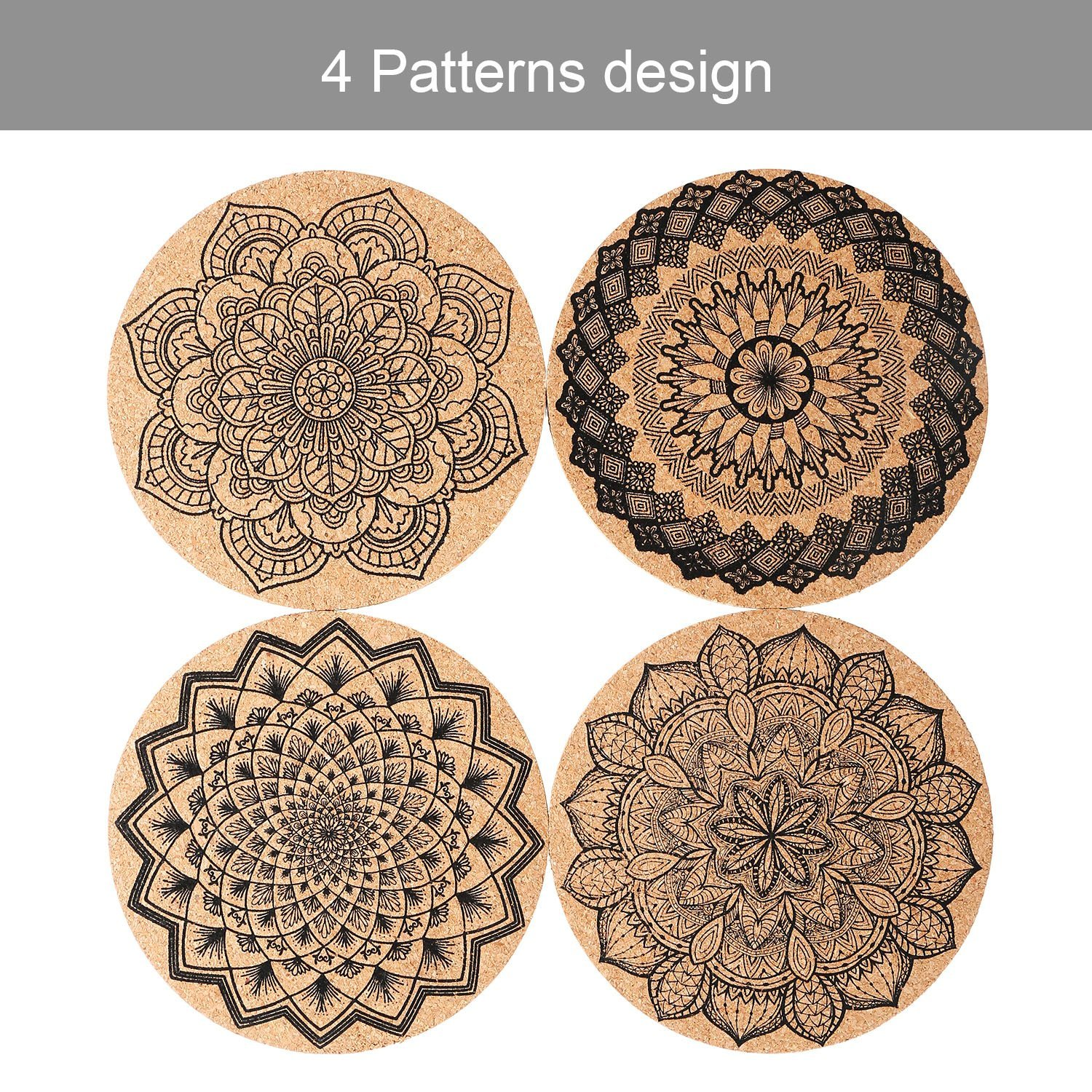 Tatuo 12 Pieces Cork Coasters for Drinks Absorbent Reusable Cup Mat Drink Coaster for Home Restaurant Office and Bar, 4 Inches by Tatuo (Image #3)