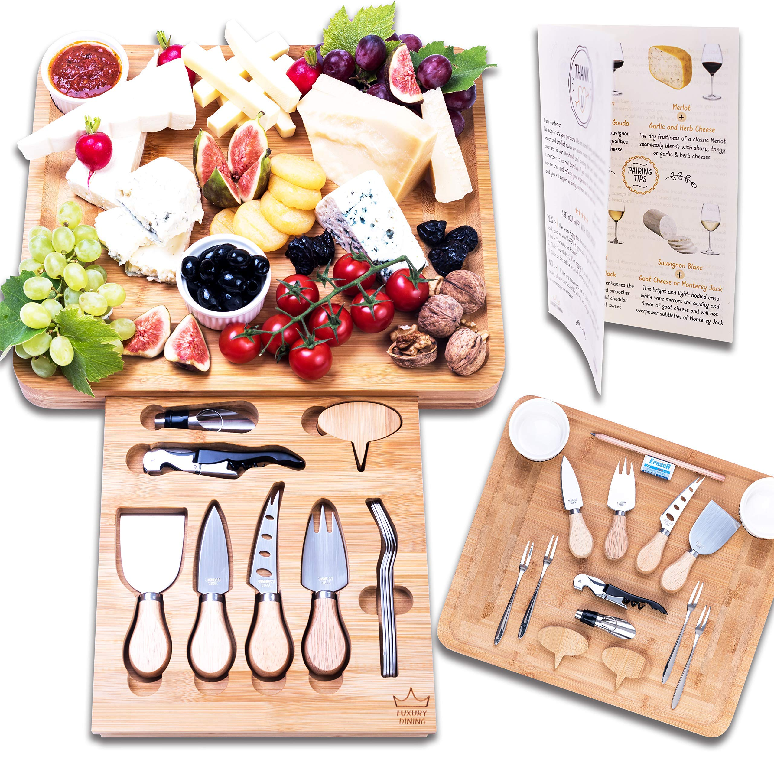Luxury Dining 16-piece Cheese Charcuterie Board and Knife Cutlery Set - Organic Bamboo Cutting and Serving Tray for Meat, Crackers, Wine with Hidden Unique Drawer, Perfect Housewarming Present Idea by Luxury Dining