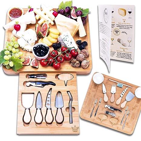 Amazon.com: Juego de cubiertos y tabla de queso de 16 piezas ...