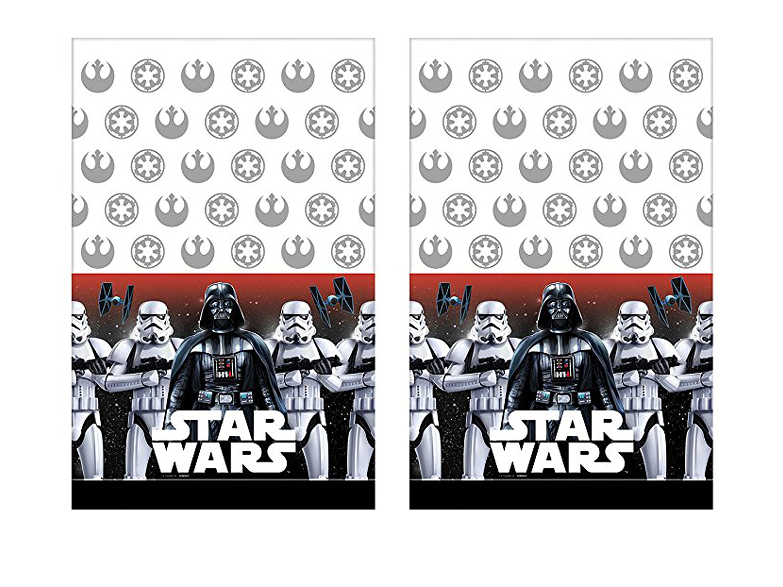 Set of 2 American Greetings 54in x 96in Plastic Star Wars Table Cover bundled by Maven Gifts