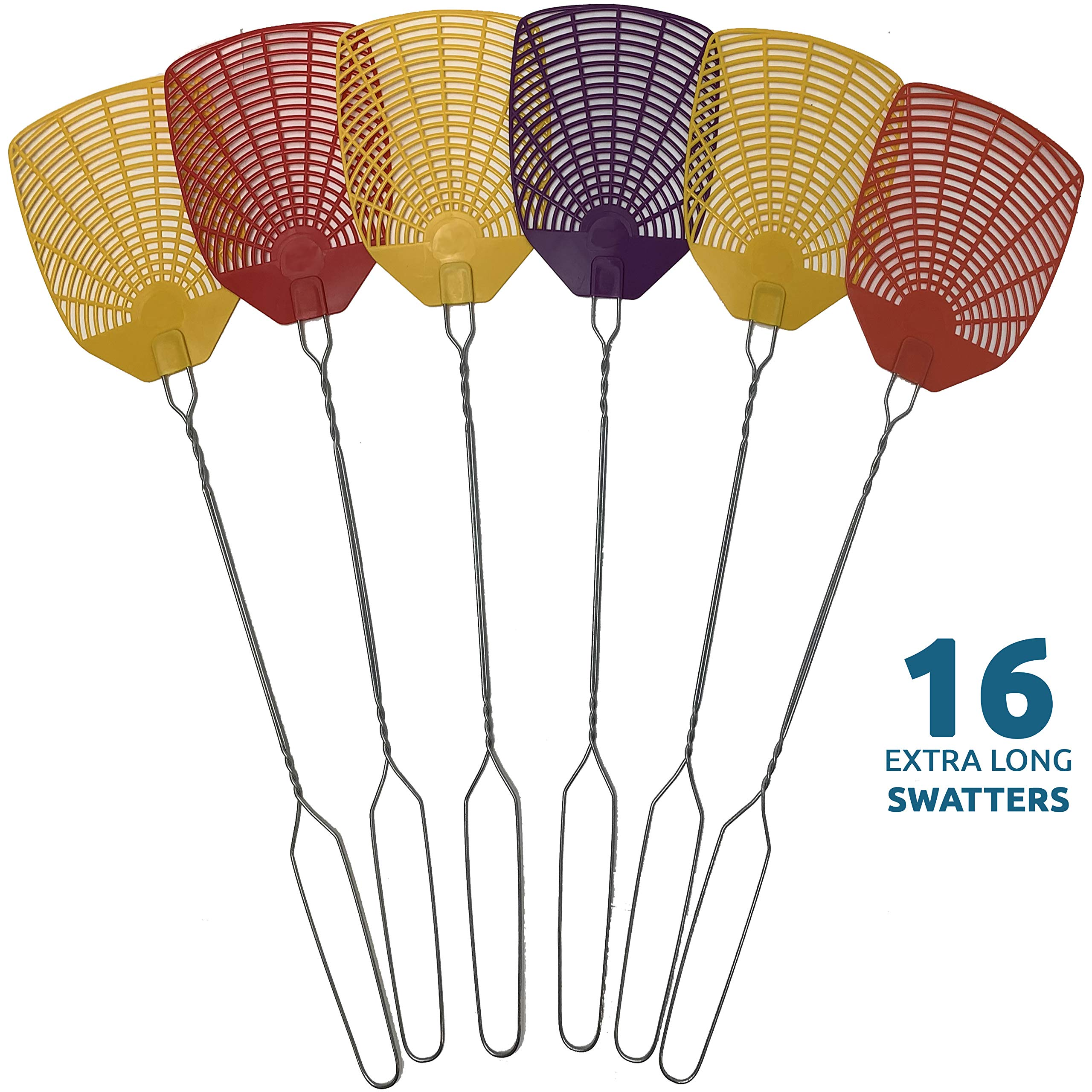 W4W Bug & Fly Swatter - Extra Long Handle 16 Pack Fly Swatters - Indoor/Outdoor - Pest Control flyswatter with 30 Labels by W4W