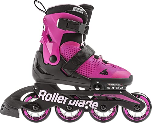 Rollerblade Microblade Girl s Adjustable Fitness Inline Skate, Pink and Bubble Gum, Junior, Youth Performance Inline Skates