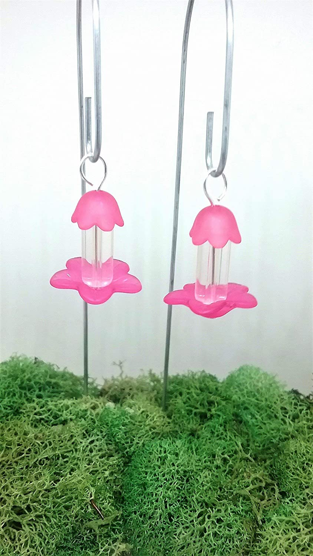 Fairy Garden Miniature Bird Feeders Set of 2 Pink Fairy Accessories.
