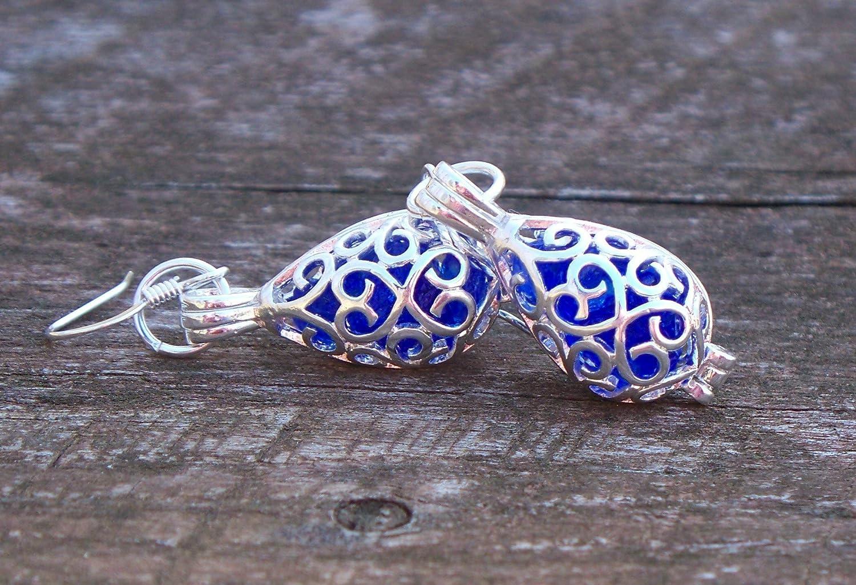Recycled Vintage Cobalt 1960s Face Cream Jar Silver Filigree Teardrop Earrings
