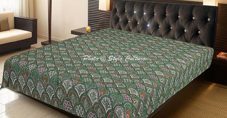 Stylo Culture Traditionnelle Couvre-lit Indien Reine Taille Kantha Literie Vert Coton Arc-en-Main Couverture Brod/ée Couverture De Lit