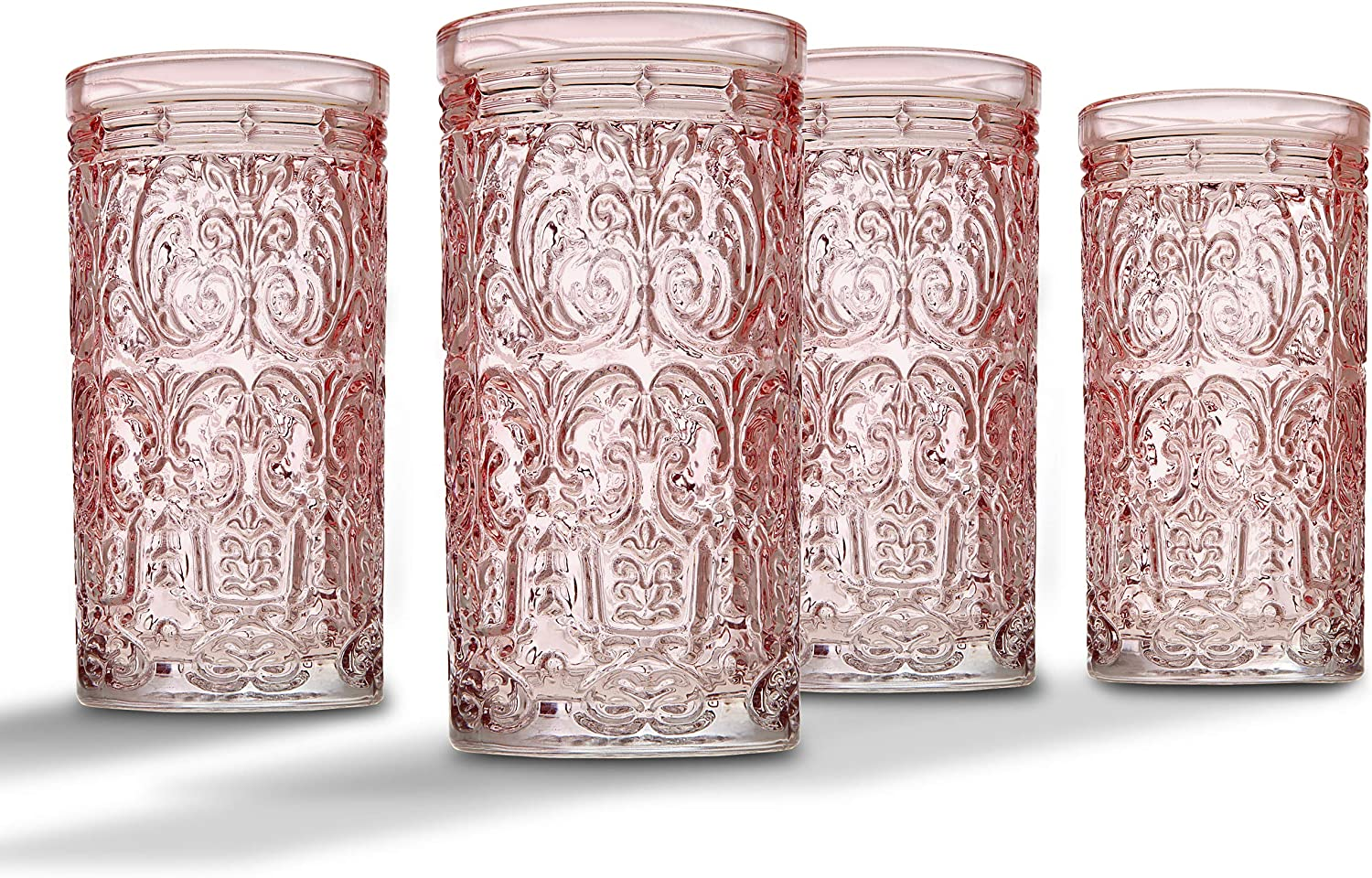 Jax Highball Beverage Glass Cup by Godinger - Pink - Set of 4