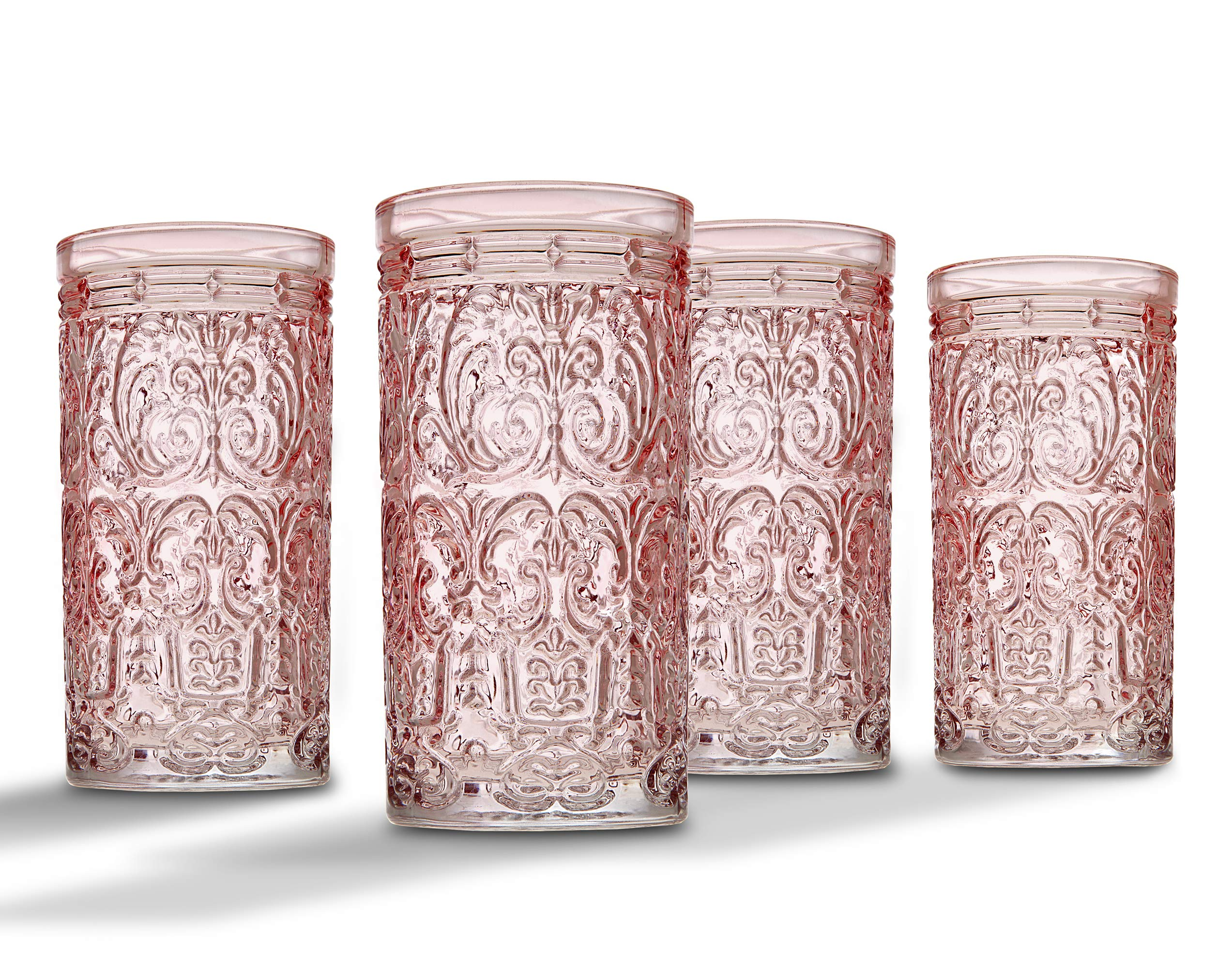 Jax Highball Beverage Glass Cup by Godinger – Pink – Set of 4