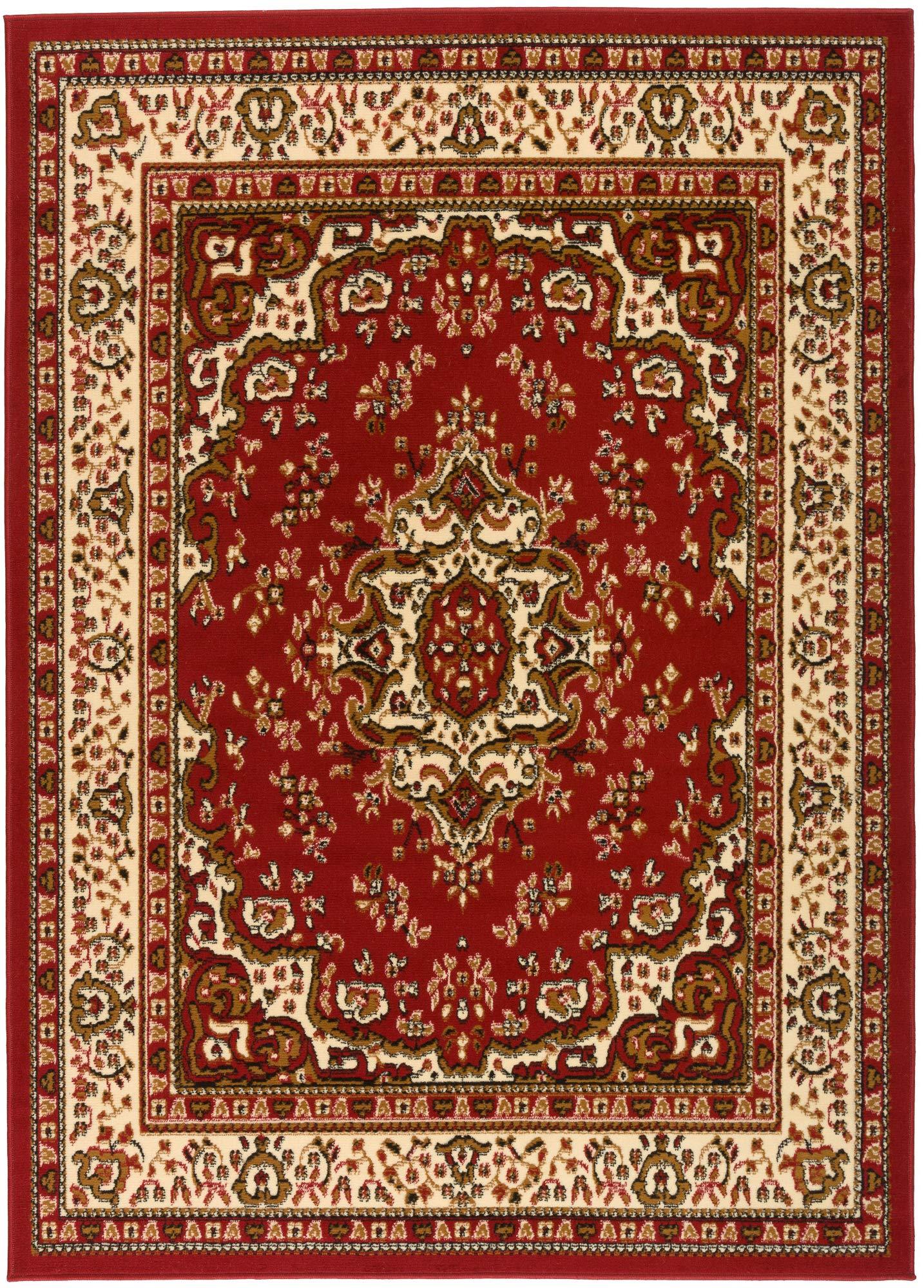 Antep Rugs Kashan King Collection Himalayas Oriental Polypropylene Indoor Area Rug (Maroon/Beige, 5' x 7')