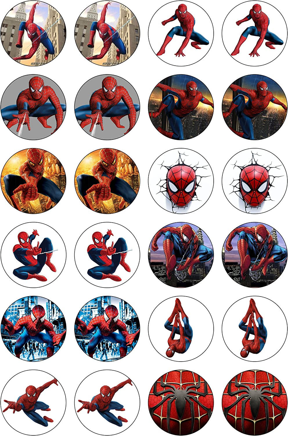 24 X SPIDERMAN 5TH BIRTHDAY EDIBLE CUPCAKE TOPPERS WAFER ...