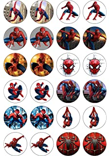 graphic regarding Free Printable Cupcake Wrappers and Toppers With Spiderman known as 24 Precut Spherical Question Superheroes People Edible Wafer