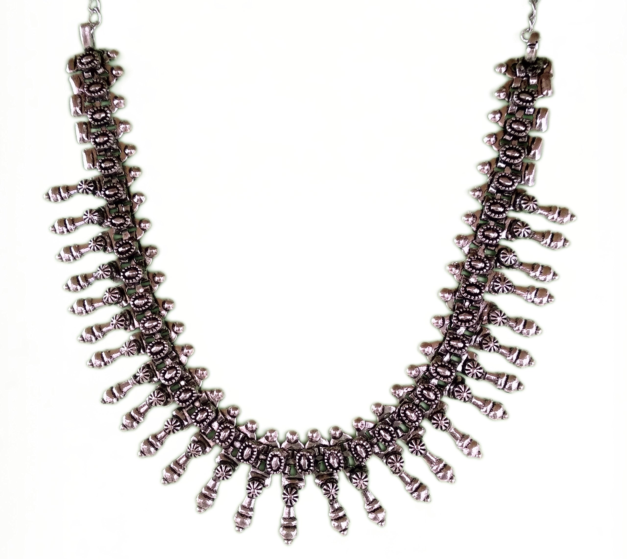 The Trendy Trendz India Bollywood Oxidized Silver Gypsy Style Necklace Jewelry for Women and Girls