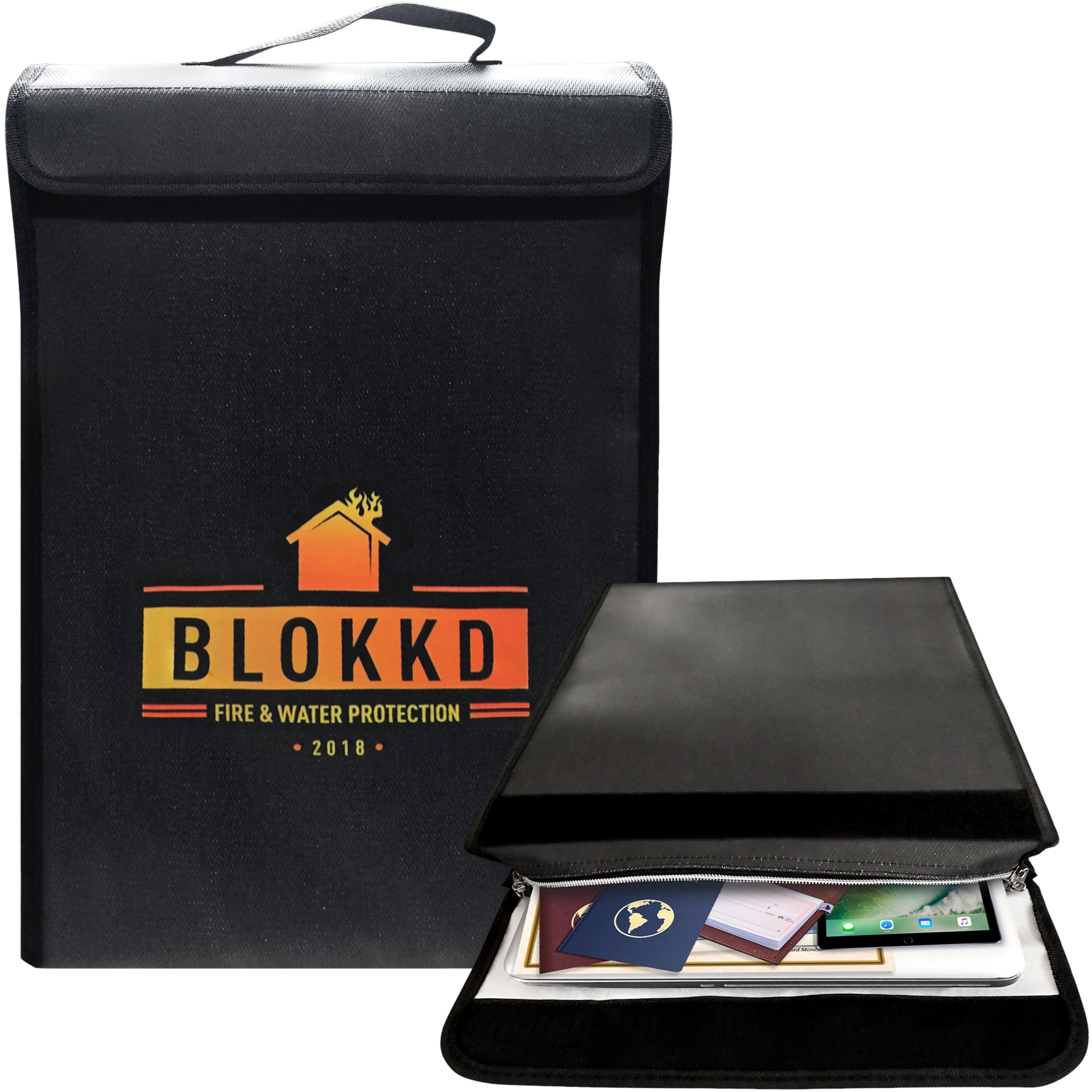 Fireproof Lock Box Bag for Documents - Fire Proof Safe Document Holder Bags - Waterproof Storage Safety for Files, Money, Passport, Jewelry, Valuables - 16 x 11.5 x 3 inches by Blokkd by BLOKKD