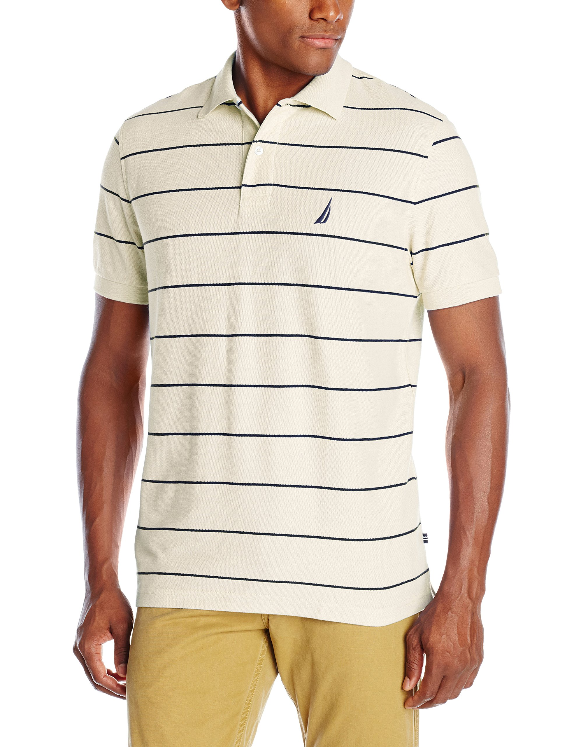Nautica Men\u0027s Stripe Deck Anchor Polo, Sail Cream, XX-Large product image