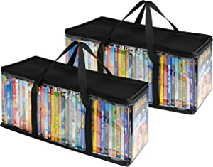 Stock Your Home DVD Storage Bags (2 Pack) - Transparent PVC Media Storage - Water Resistant DVD Holder Case with Handles - Clear Plastic Carrying Game Bag Storage for DVDs, CDs, Video Games, Books