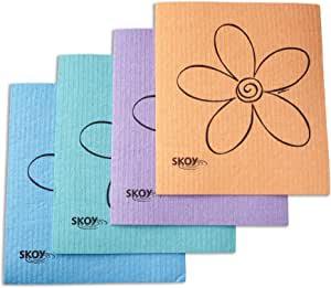 Skoy cloth, Mixed colors w/ flower (4-pk)