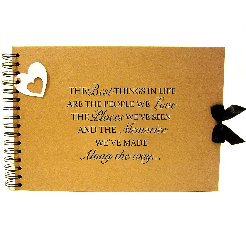 A5 A4 Life Friends & Love Quote Scrapbook, Landscape, Card Pages, Photo Album, Keepsake (A4 (Kraft Pages)) Scrapbook Wonderland