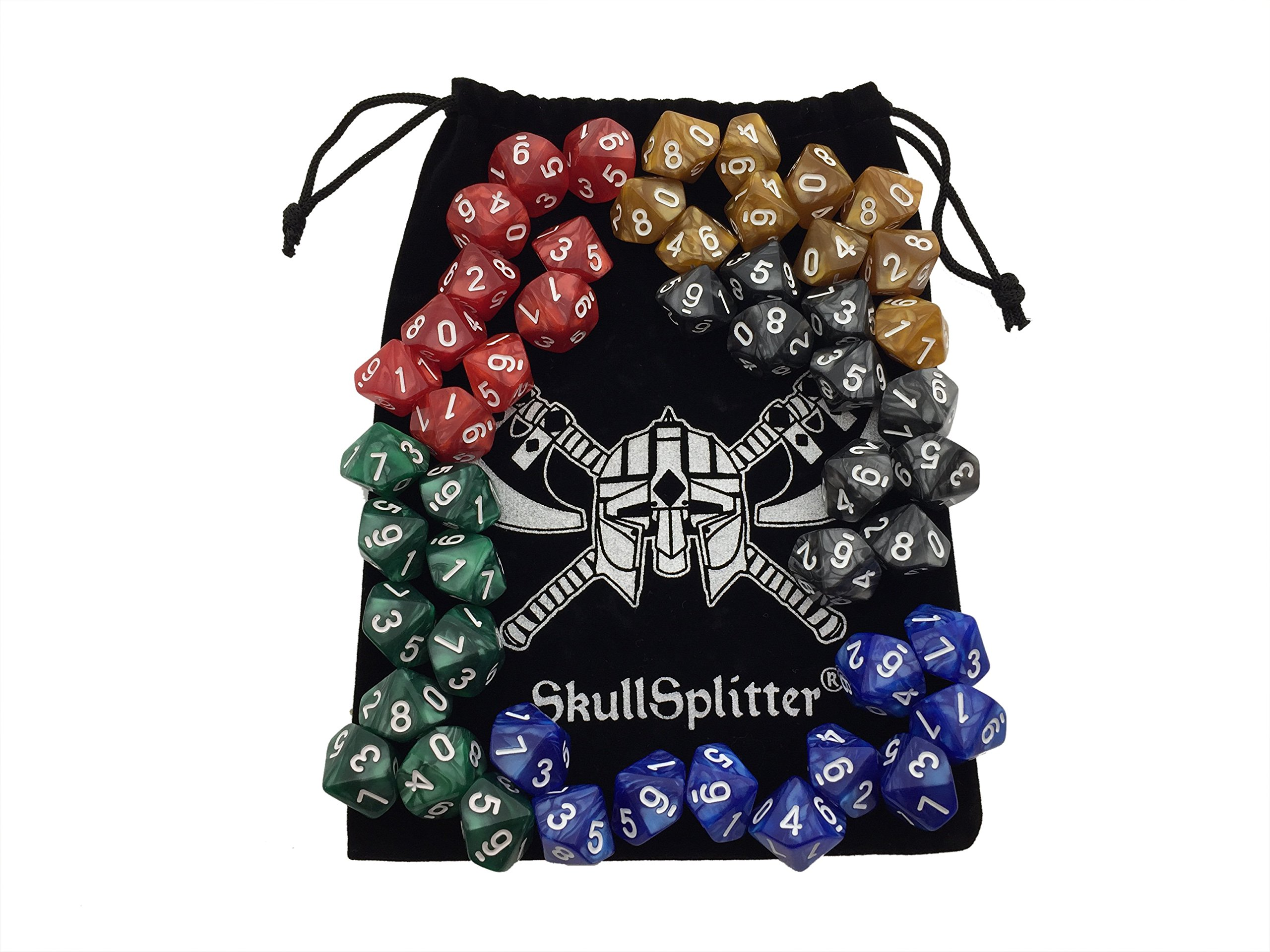 Skull Splitter Dice - D10 DICE Set-5 Sets of 10d10, Perfect for WOD or Math Dice Games - 10 Sided Polyhedral Dice Sets with Bag for Table Top RPG MTG by Skull Splitter Dice