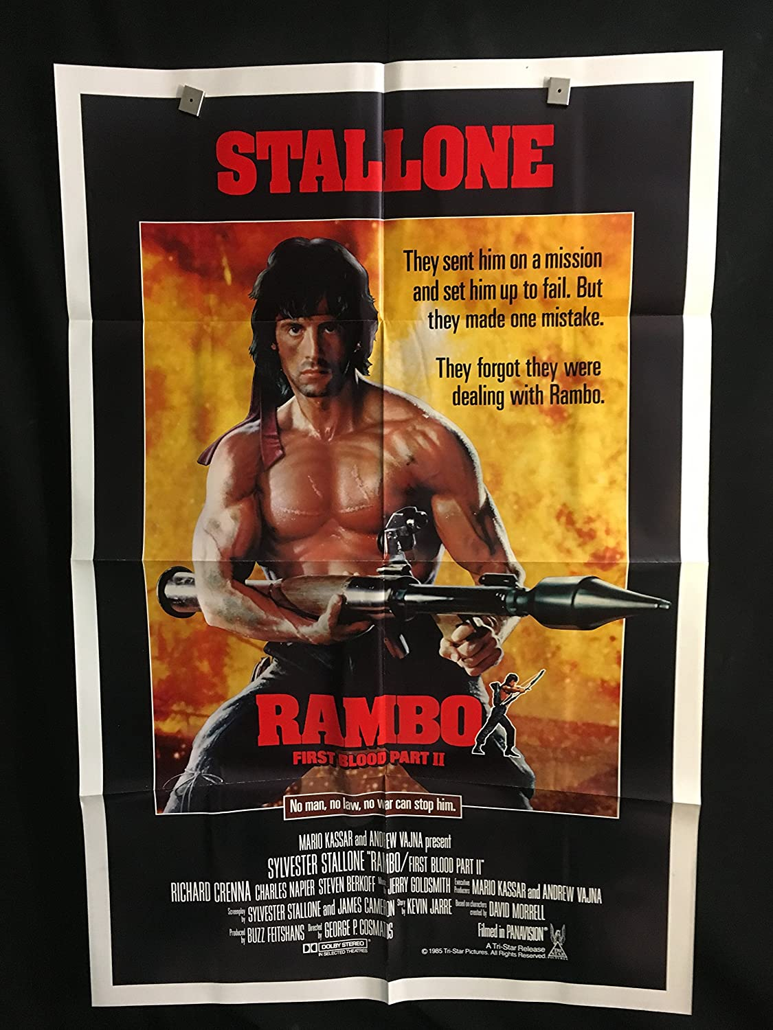 Rambo First Blood Part 2 1985 Original Vintage One Sheet Movie Poster Action Sylvester Stallone At Amazon S Entertainment Collectibles Store
