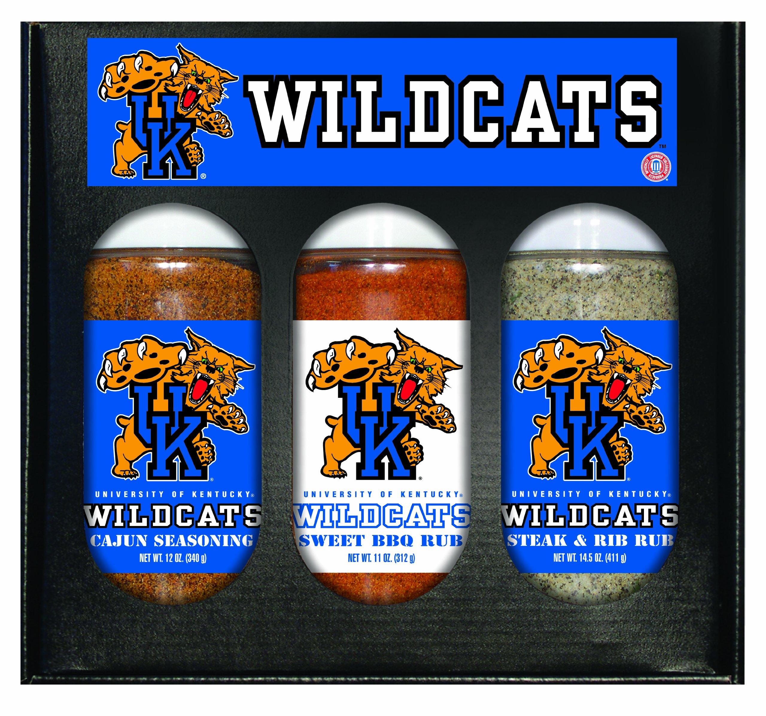 8 Pack KENTUCKY Wildcats Boxed Set of 3 (Cajun Seas,Stk/Rib Rub, BBQ Rub)