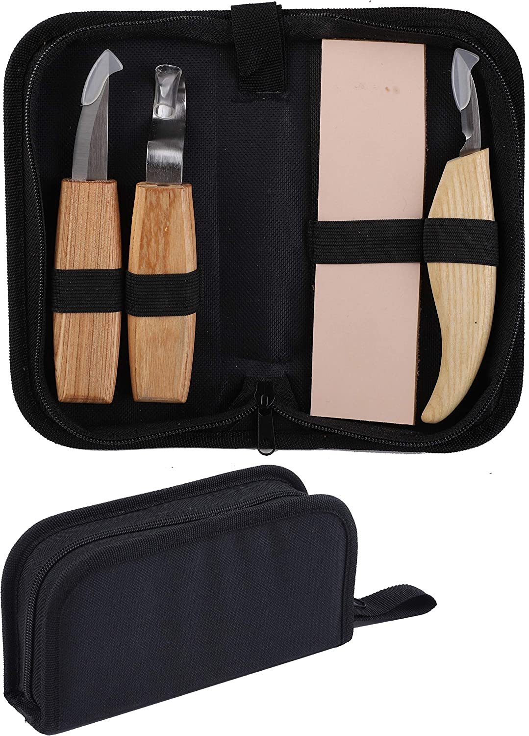 Ruisita Wood Carving Tools Set 4 in 1 Beginners Kit Carving Hook Tools Wood Whittling Tools Chip Carving Tools with Storage Bag for Spoon Bowl Cup Woodworking