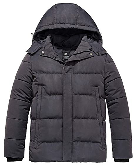 aaae60023 Wantdo Men's Puffer Winter Warm Quilted Jacket Outwear with Removable Hood