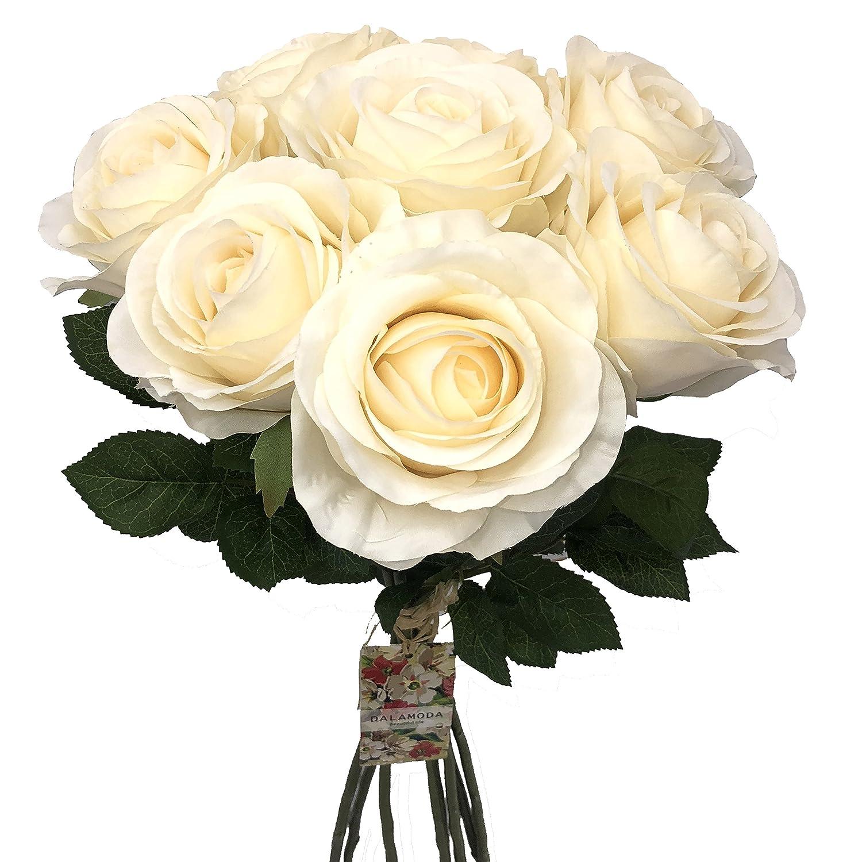 Dalamoda 8pcs Big Heads Artificial Silk Open Rose Flower Diy Wedding Bridal Bouquet Flower Or Diy Any Decoration Ivory