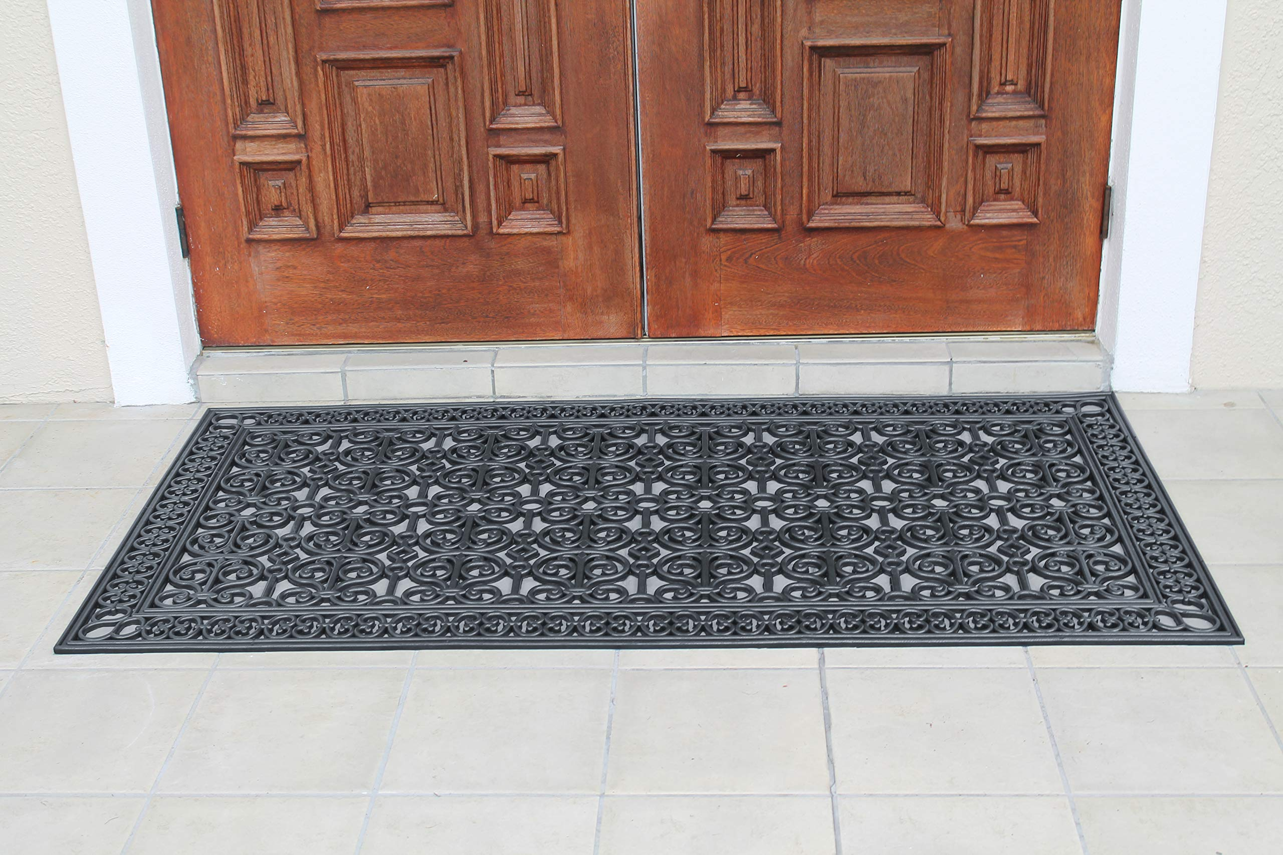 A1 Home Collections A1HCCL68 Doormat A1HC First Impression Rubber Paisley, Beautifully Hand Finished,Thick, 36X72, Black Estate 36'' X 72'' by A1 Home Collections (Image #4)
